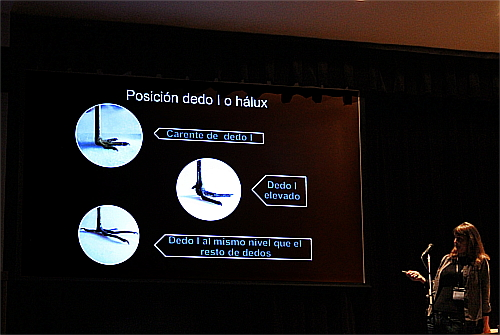 Luisa showing the different possible positions that ca has the hallux in a foot.